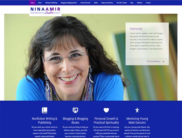 Nina Amir Interview - Nina Amir Website Screenshot