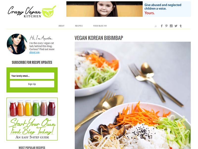 Crazy Vegan Kitchen - Website Screenshot