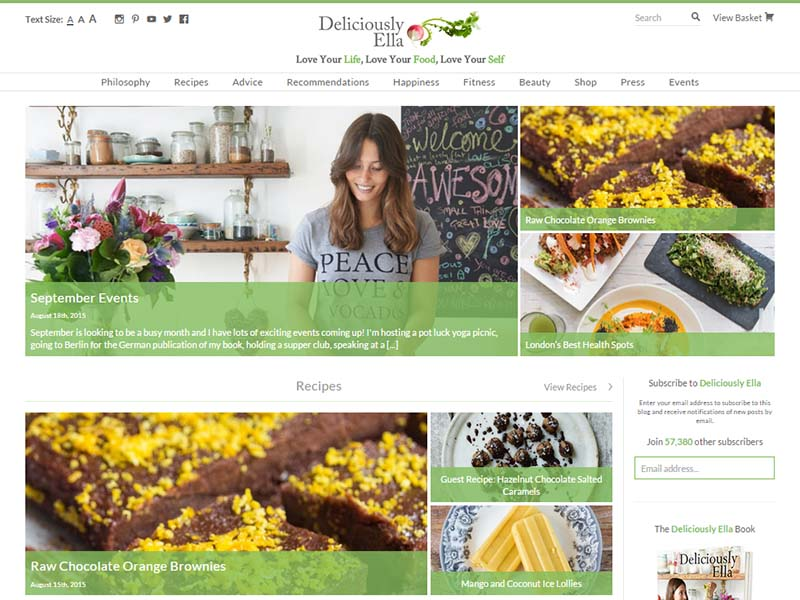 Deliciously Ella - Website Screenshot