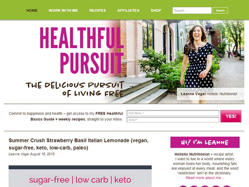 Healthful Pursuit - Website Screenshot