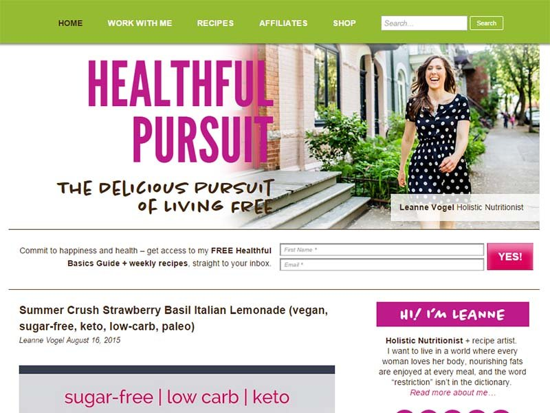 Healthful Pursuit - Website Screenshot