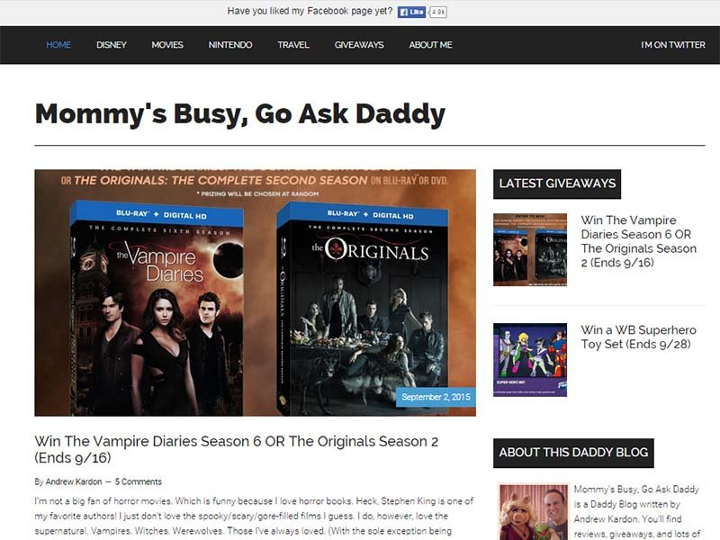 Mommy's Busy, Go Ask Daddy - Website Screenshot