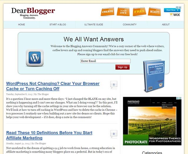 Greg Narayan Interview - Dear Blogger Website Screenshot