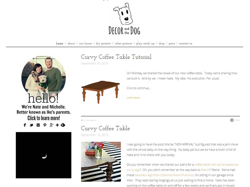 Decor and The Dog - Website Screenshot
