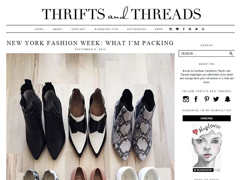 Thrifts and Threads - Website Screenshot