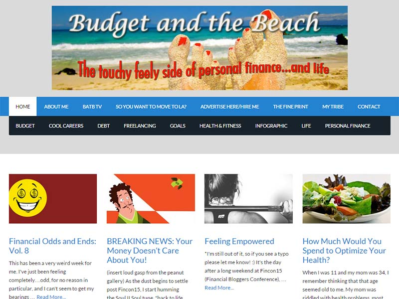 Budget and the Beach - Website Screenshot