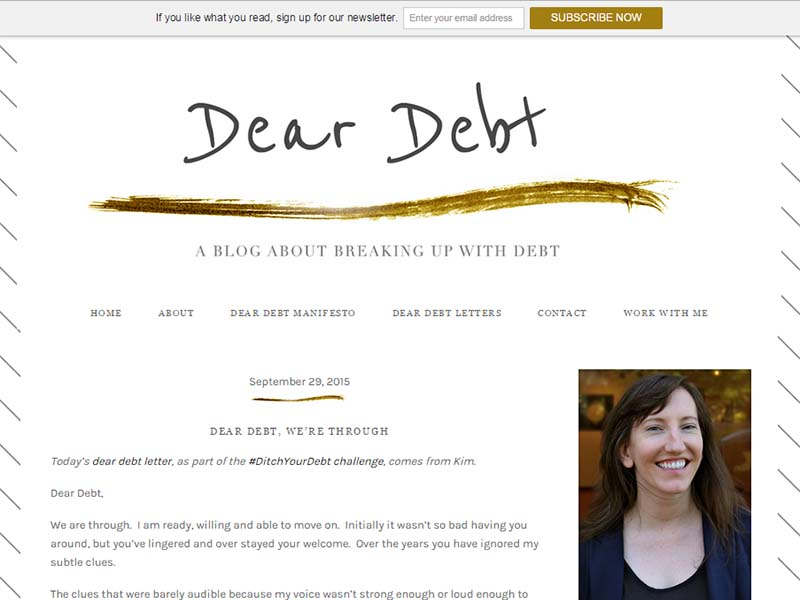 Dear Debt - Website Screenshot