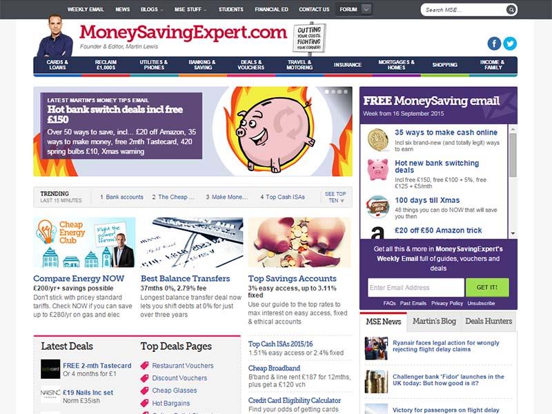 Money Saving Expert - Website Screenshot