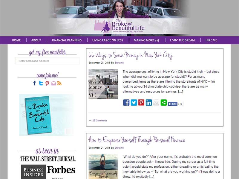 The Broke and Beautiful Life - Website Screenshot