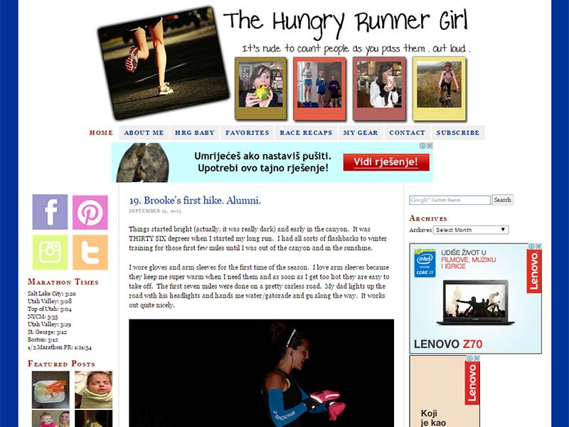 Hungry Runner Girl - Website Screenshot