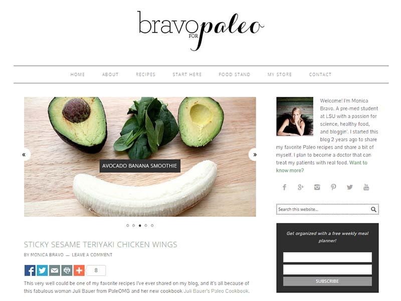Bravo For Paleo - Website Screenshot
