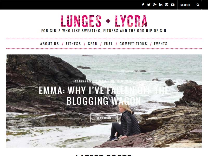 Lunges And Lycra - Website Screenshot