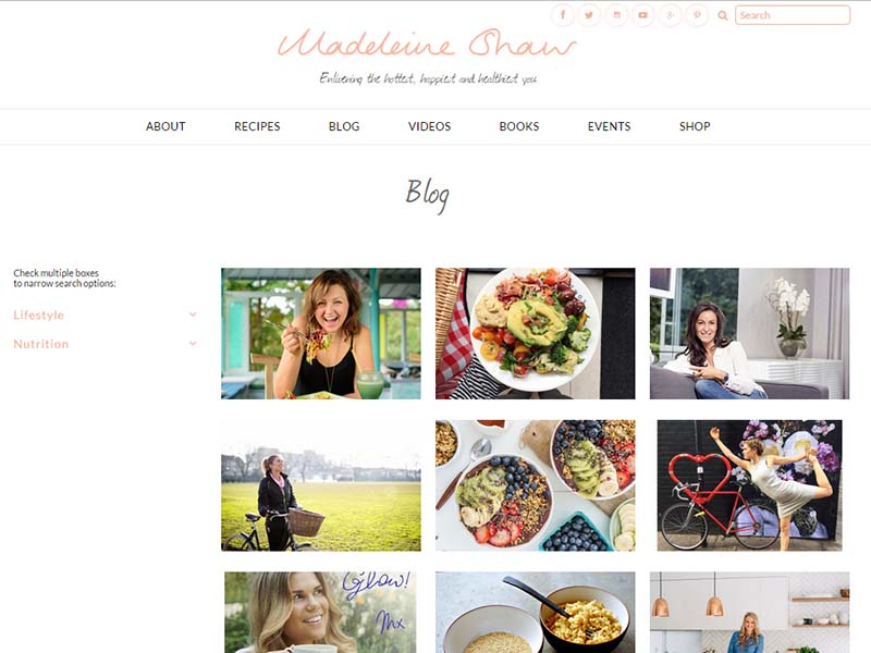 Madeleine Shaw - Website Screenshot