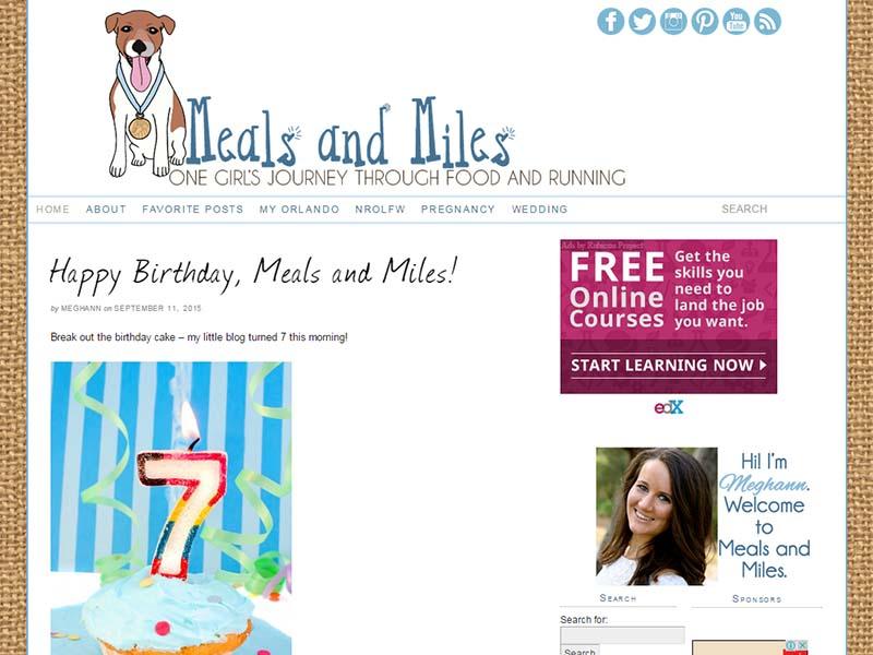 Meals and Miles - Website Screenshot