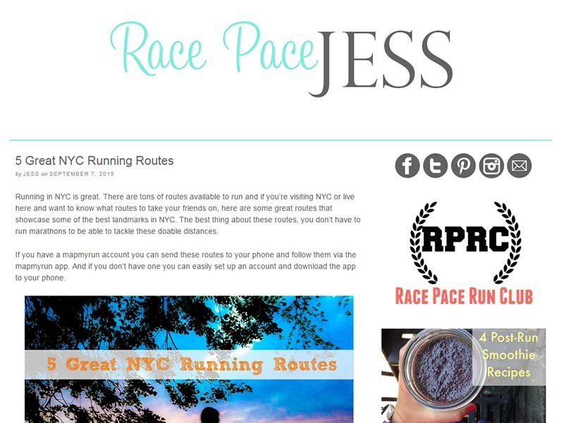 Race Pace Jess - Website Screenshot