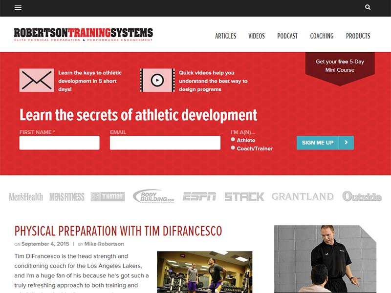 Robertson Training Systems - Website Screenshot
