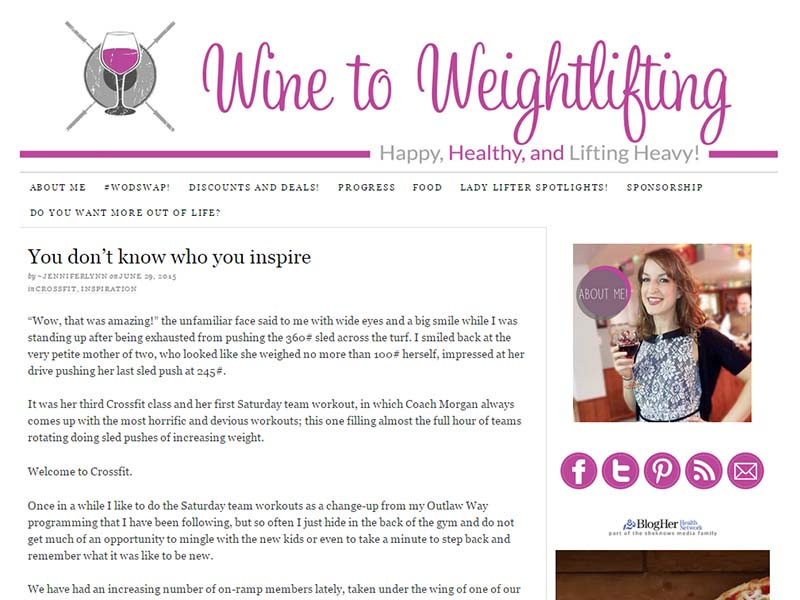 Wine To Weight Llifting - Website Screenshot