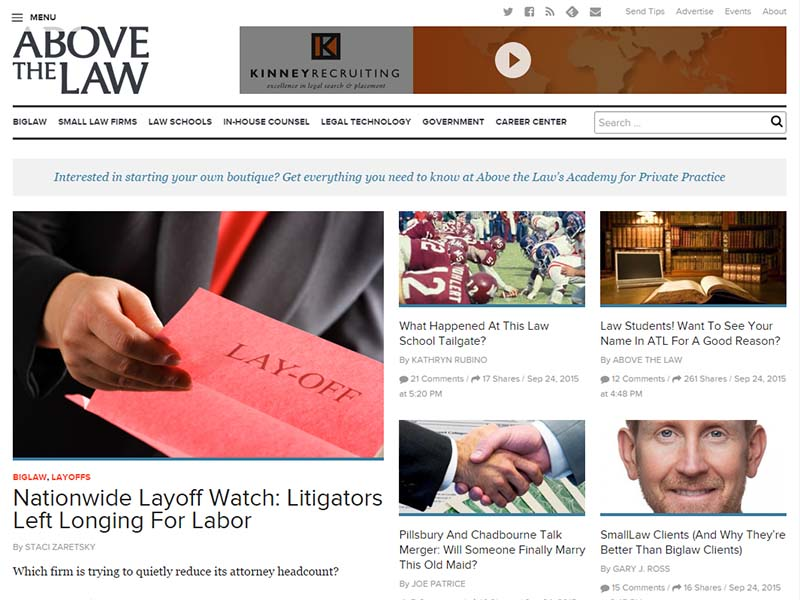 Above the Law - Website Screenshot