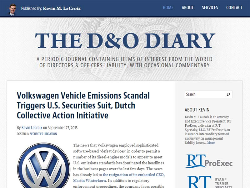 The D&O Diary - Website Screenshot