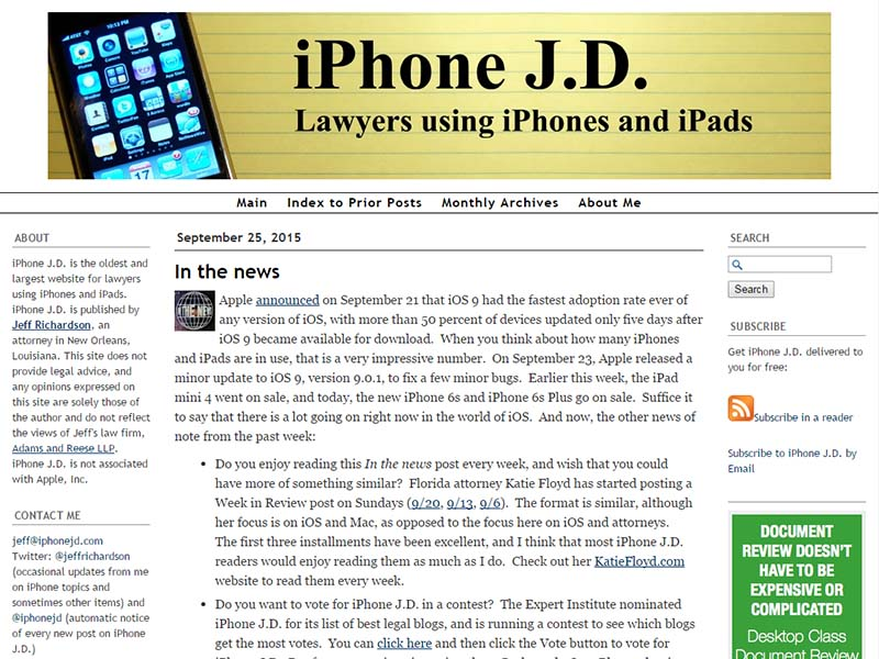 iPhone J.D. - Website Screenshot