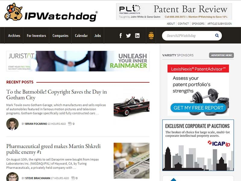 IPWatchdog - Website Screenshot
