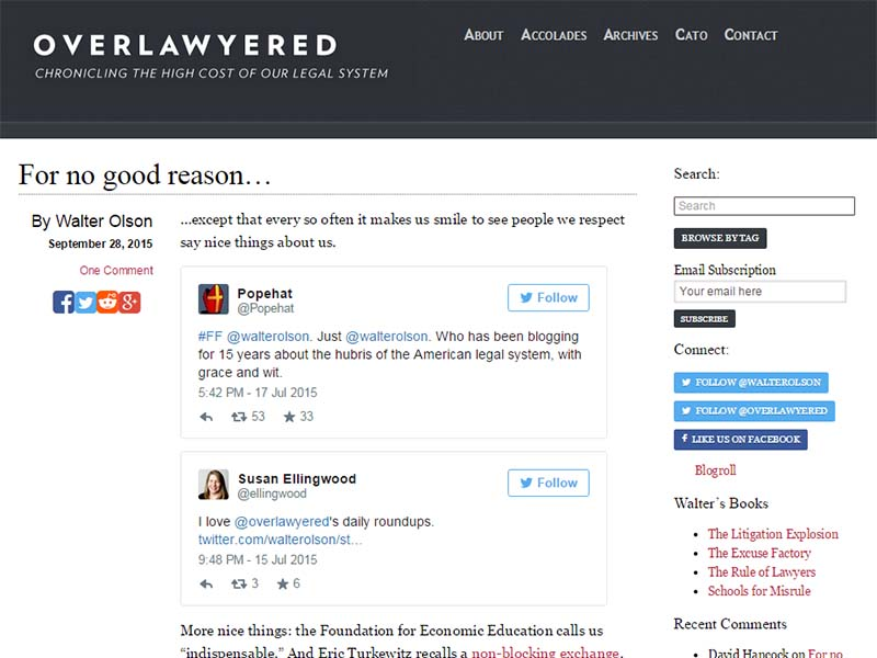 Overlawyered - Website Screenshot