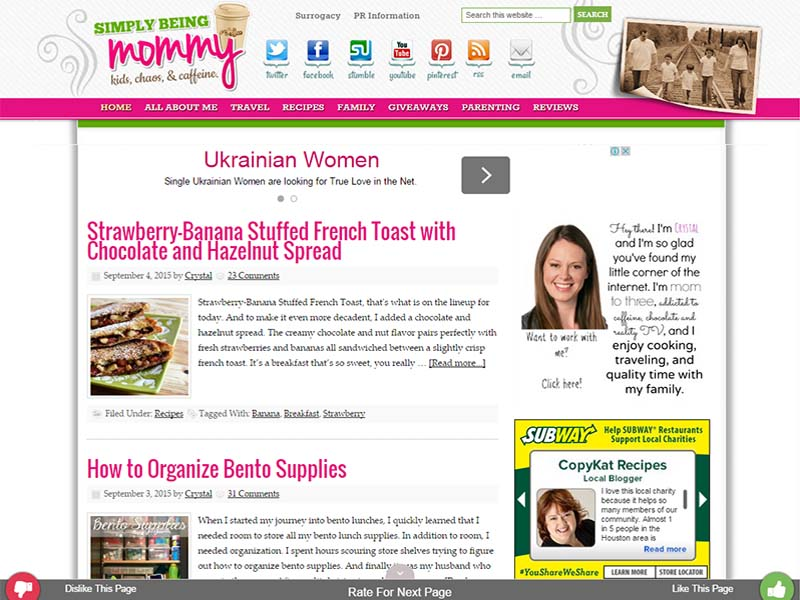 Simply Being Mommy - Website Screenshot