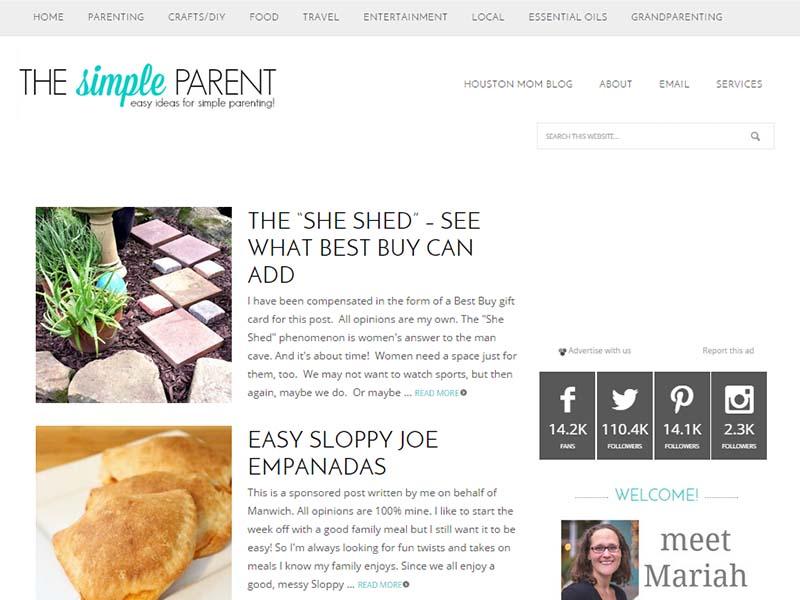 The Simple Parent - Website Screenshot