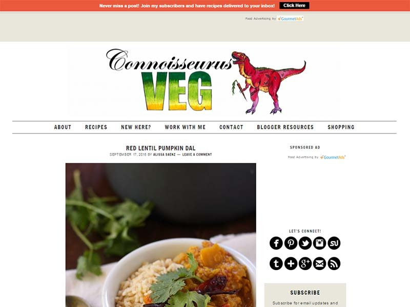 Connoisseurus Veg - Website Screenshot