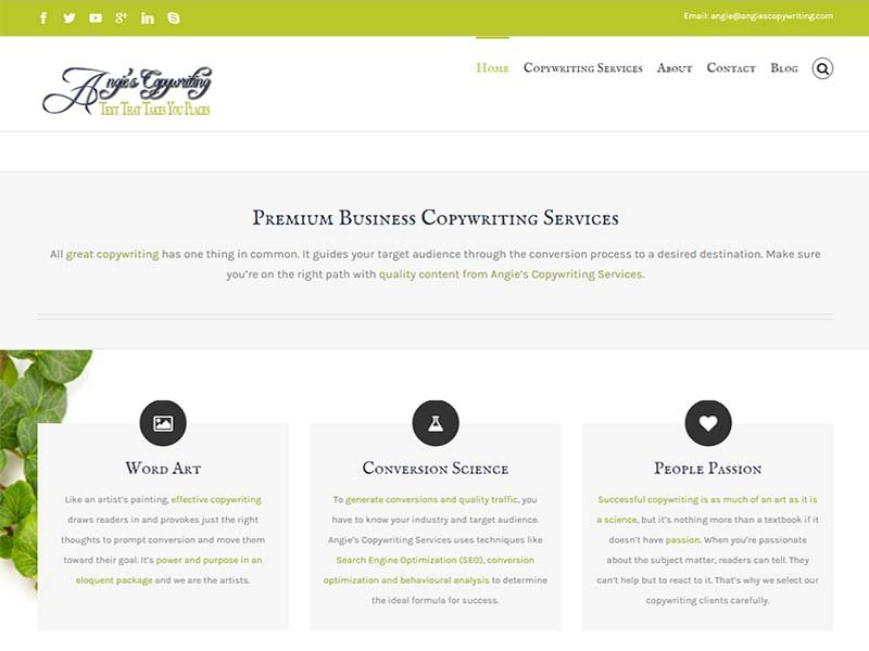 Angie's Copywriting - Website Screenshot