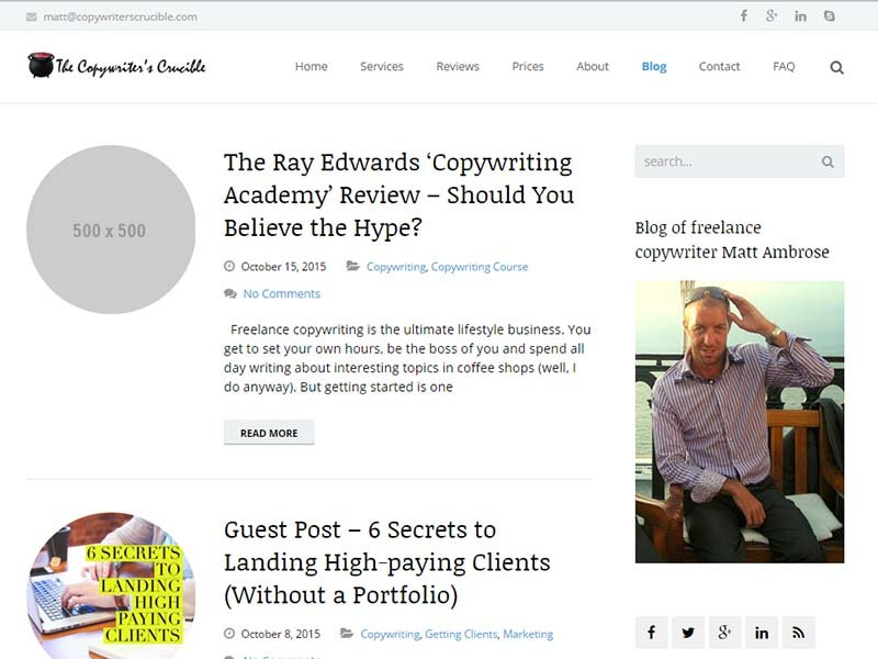 The Copywriter's Crucible - Website Screenshot