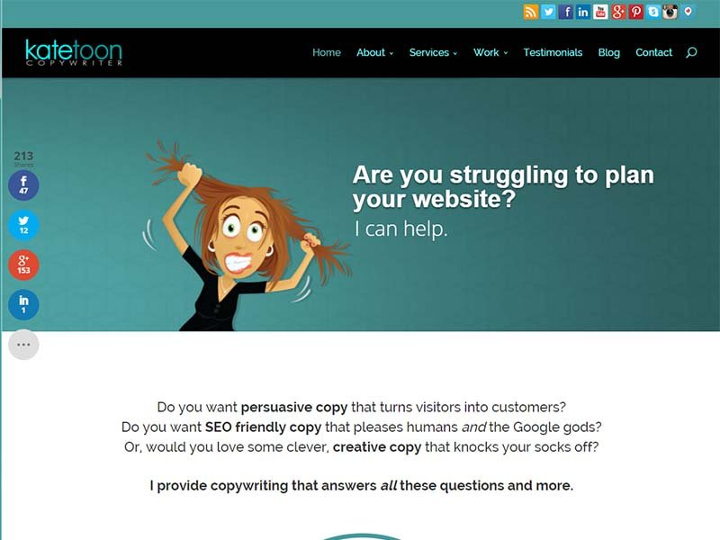 KateToon Copywriter - Website Screenshot
