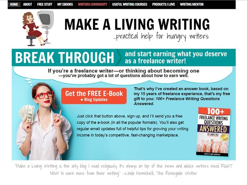 Make A Living Writing - Website Screenshot