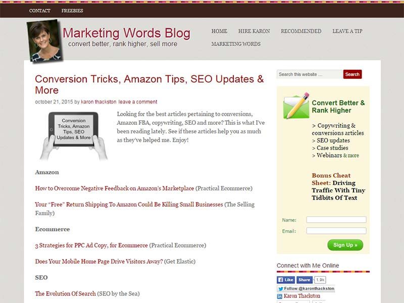 Marketing Words - Website Screenshot