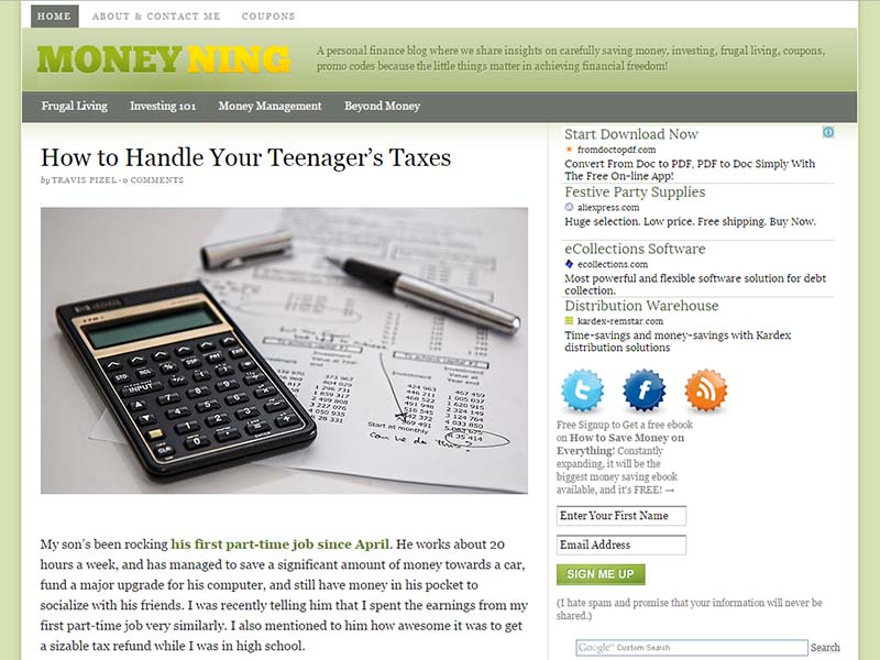 MoneyNing - Website Screenshot