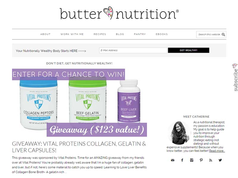 Butter Nutrition - Website Screenshot