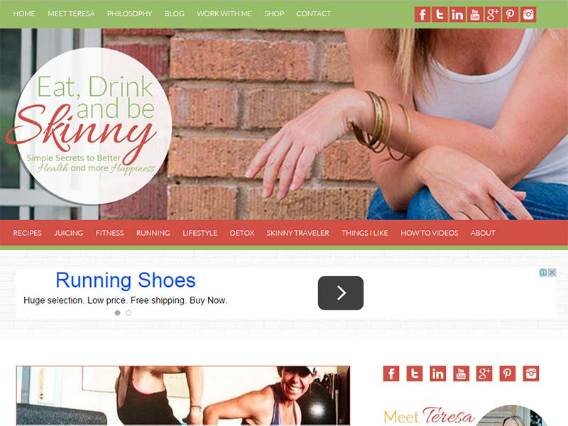 Eat, Drink and Be Skinny - Website Screenshot