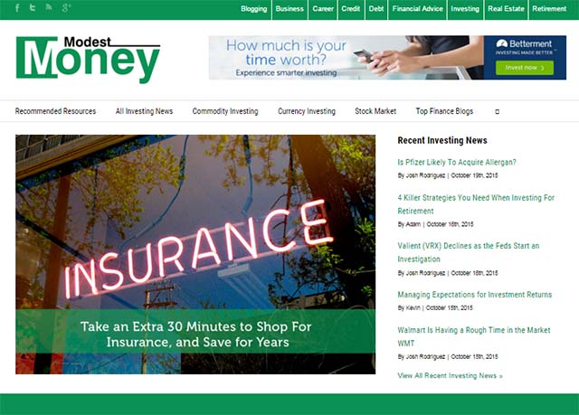 Jeremy Biberdorf - Modest Money Website Screenshot