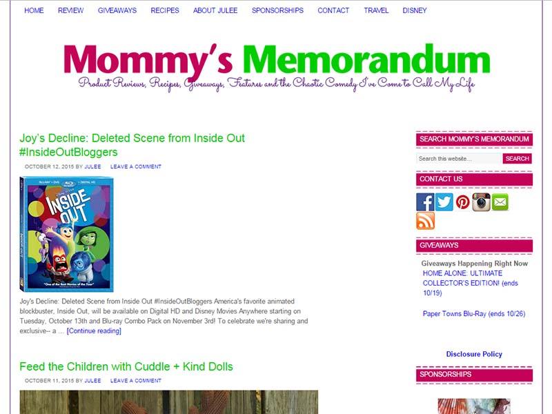 Mommy's Memorandum - Website Screenshot
