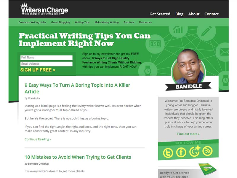Writers In Charge - Website Screenshot