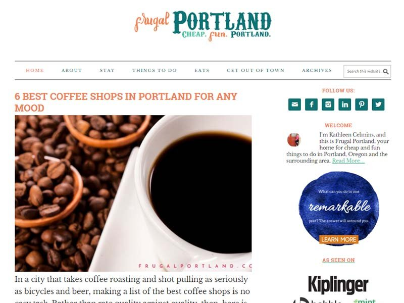 Frugal Portland - Website Screenshot