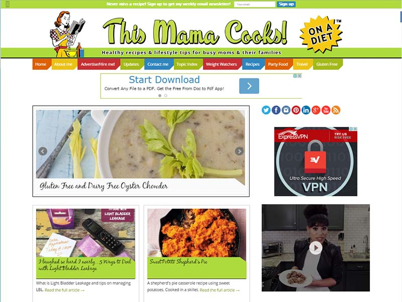 This Mama Cooks! On a Diet - Website Screenshot