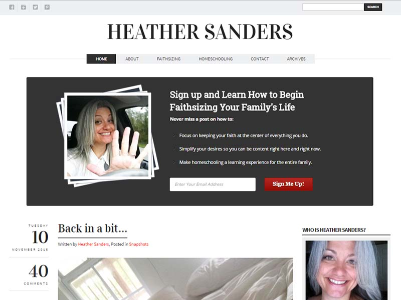 Heather Sanders - Website Screenshot
