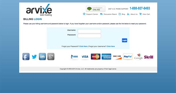 Arvixe Customer Portal login page