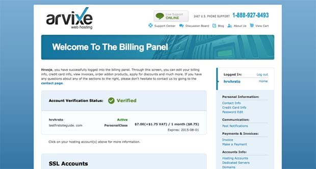 Arvixe Customer Portal