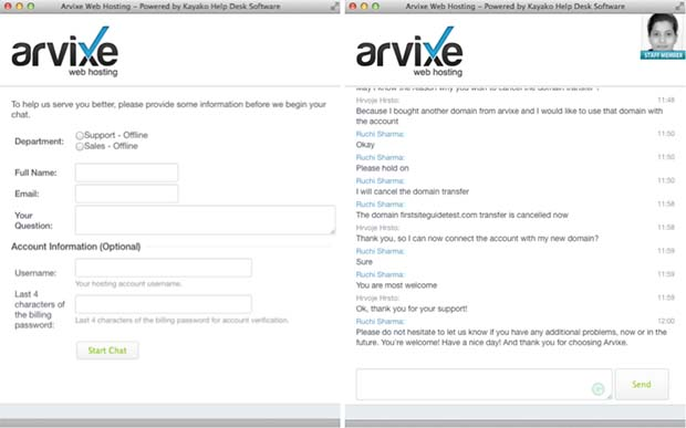 Arvixe chat support