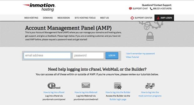 InMotion account management login page
