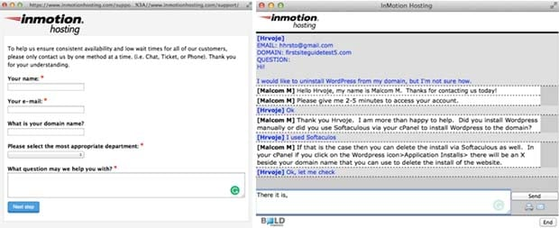 InMotion chat support
