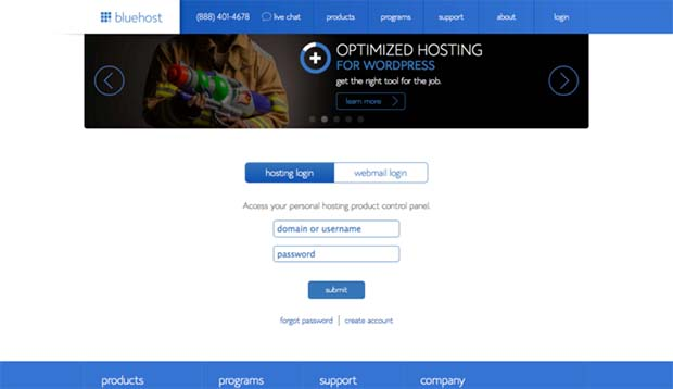 BlueHost account login page