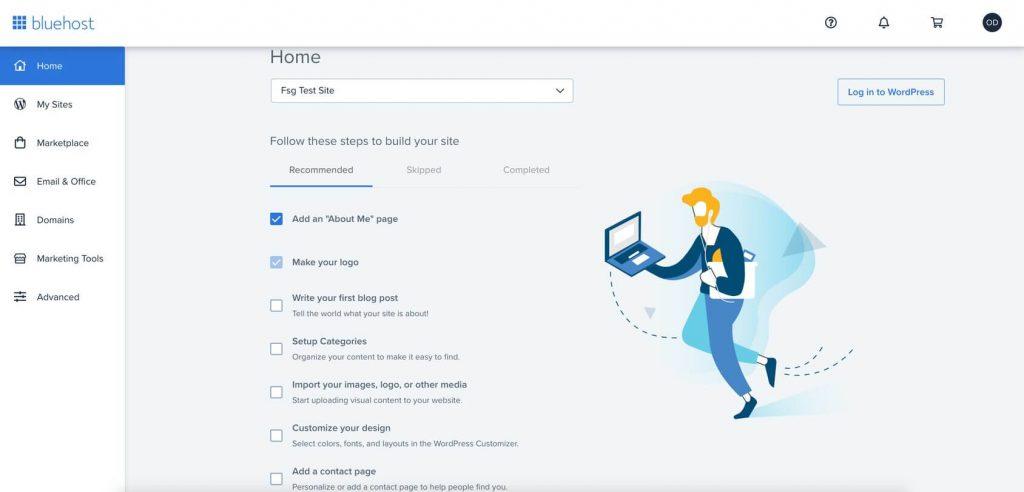 bluehost website setup